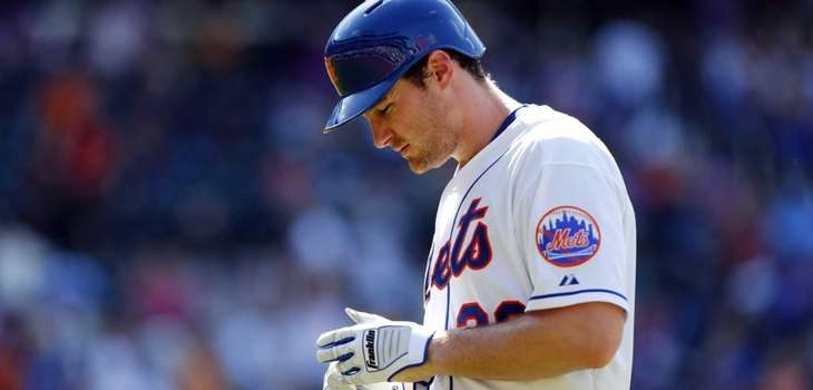 Daniel Murphy #28 of the Mets reacts after