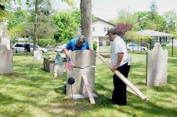 Mike Lubrano, right, of the Mastic Peninsula Historical