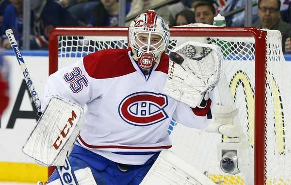 Dustin Tokarski of the Montreal Canadiens makes a