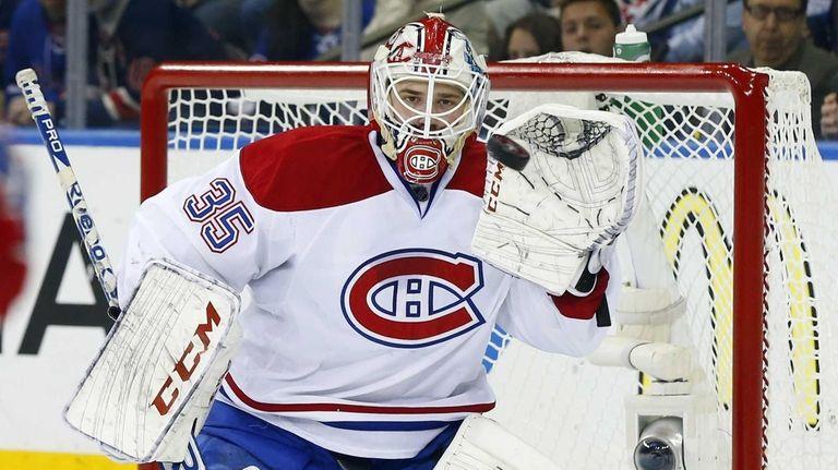 Dustin Tokarski of the Montreal Canadiens makes a