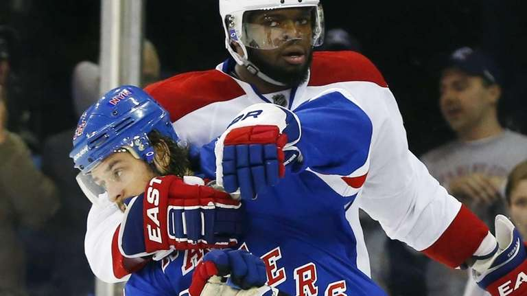 P.K. Subban #76 of the Montreal Canadiens grabs