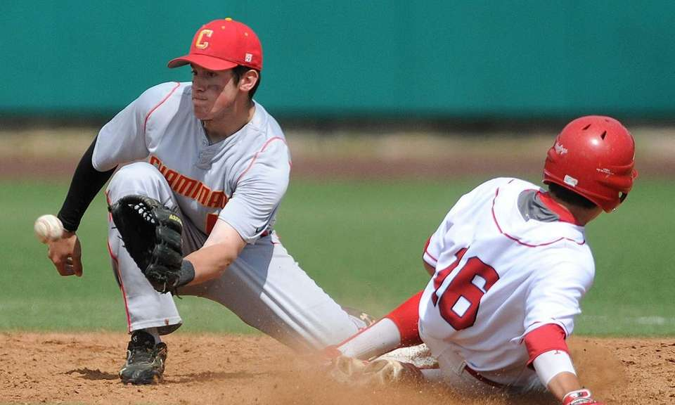 Chaminade shortstop No. 15 Luke Zeccola, left, fields