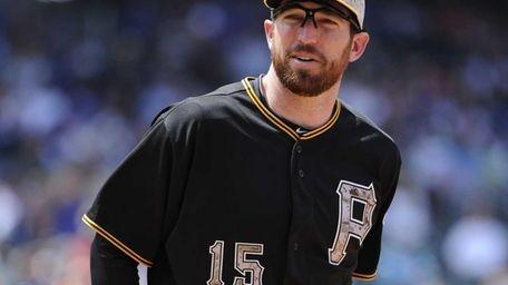 Pittsburgh Pirates first baseman Ike Davis looks on