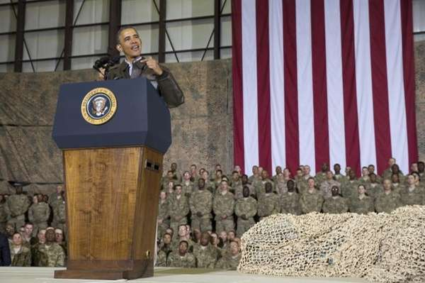 President Barack Obama speaks during a troop rally
