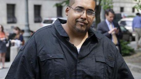 Hector Xavier Monsegur arrives at court in Manhattan