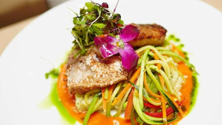 Pan-seared Montauk yellowfin tuna is a recommended main