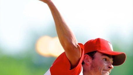 Half Hollow Hills West pitcher Aaron Glickstein delivers