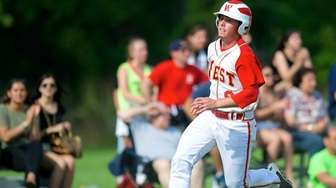 Half Hollow Hills West centerfielder Owen McMenamy comes