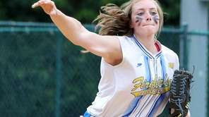 Kellenberg's winning pitcher Katherine Piorkowski gets the grounder