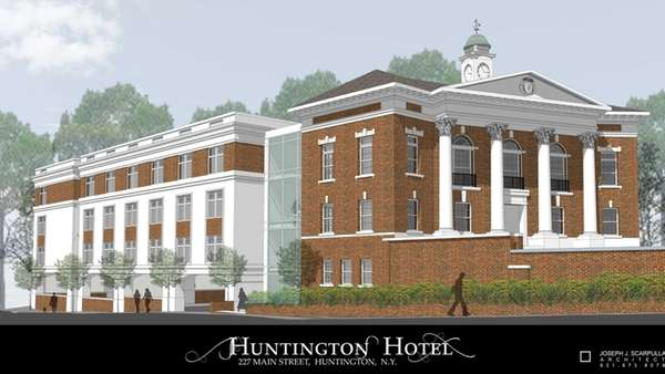 A rendering of the Huntington Hotel is seen
