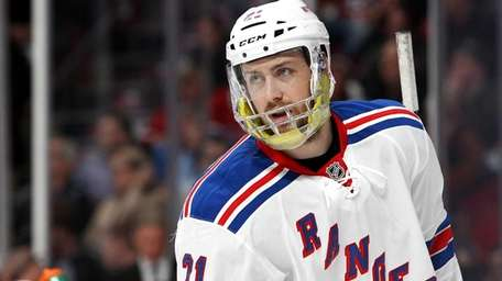 Derek Stepan of the Rangers looks on during