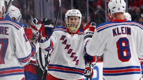 Derek Stepan of the Rangers celebrates his first