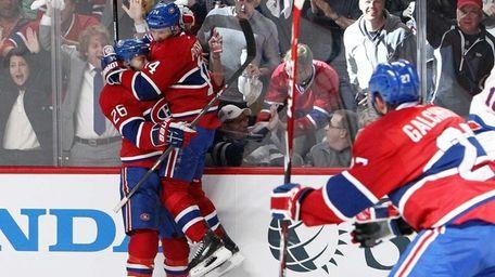 Tomas Plekanec of the Montreal Canadiens celebrates his