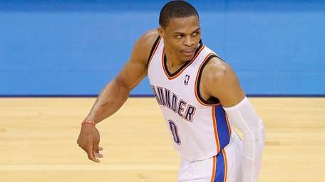 Russell Westbrook of the Oklahoma City Thunder reacts