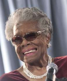 Maya Angelou addresses a gathering on Dec. 9,