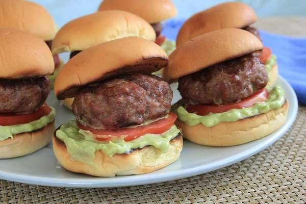 Half-size slider burgers made from lean ground turkey