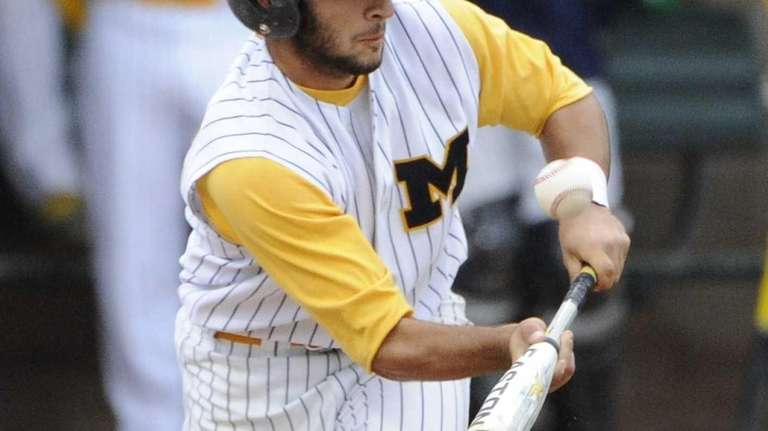 Massapequa's Jesse Nakashian bunts the ball against Oceanside