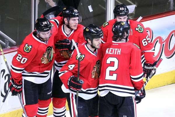 Ben Smith of the Chicago Blackhawks celebrates with