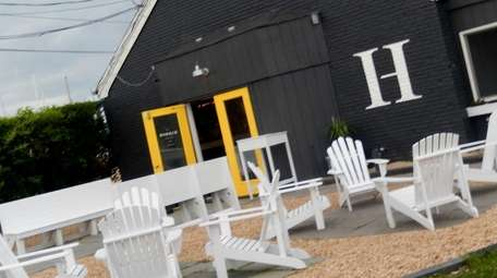 The courtyard of The Harbor Raw Bar &