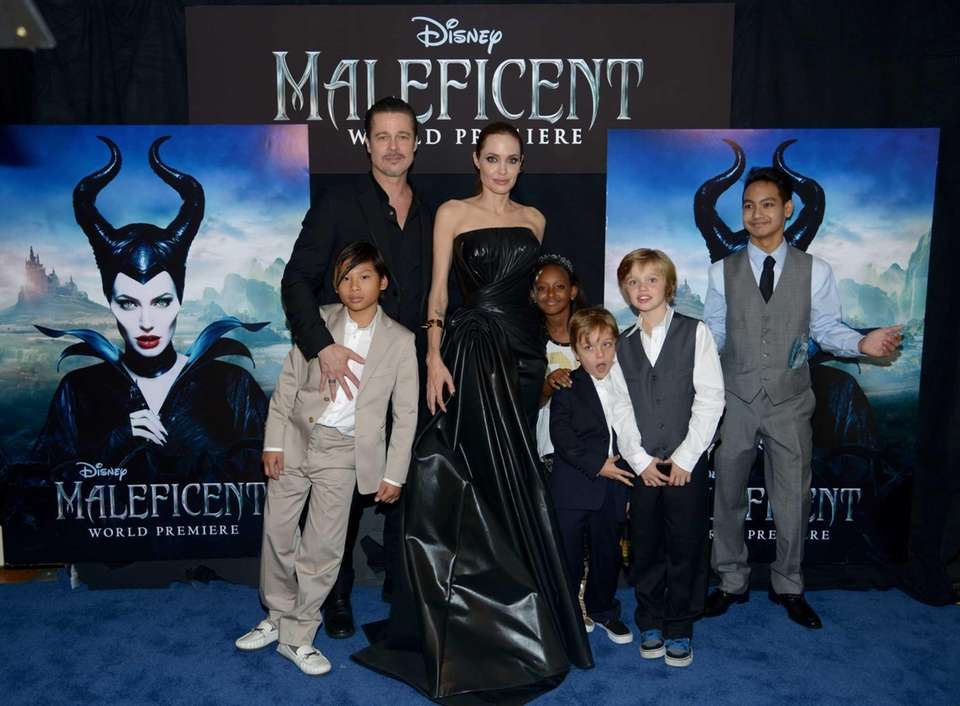 Brad Pitt and Angelina Jolie with their children,