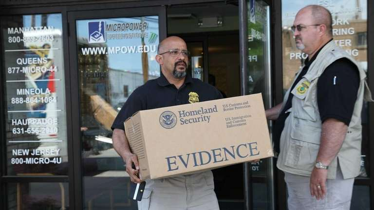 Investigators of the Department of Homeland Security raid