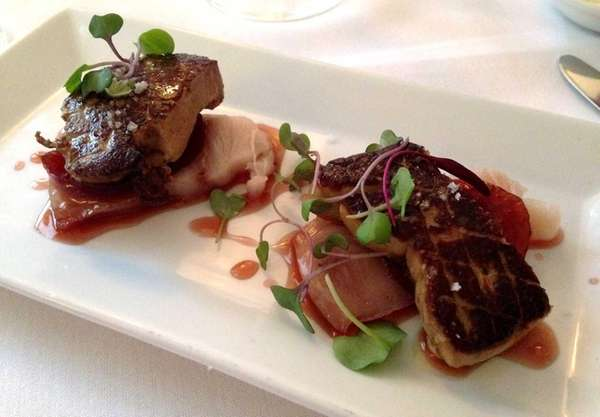 Raw hamachi and seared Hudson Valley foie gras