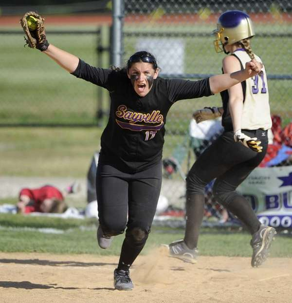 Sayville first baseman Kristen Bricker reacts after making