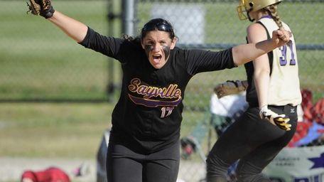 Sayville first baseman Kristen Bricker reacts after making