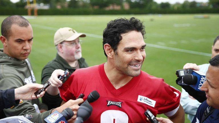 Philadelphia Eagles quarterback Mark Sanchez speaks with members