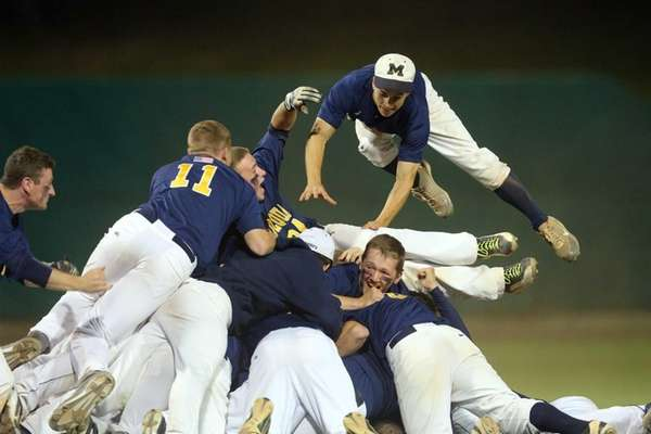 Massapequa beat Oceanside, 5-3, to win the Nassau Class AA baseball championship on Thursday, May 29, 2014.