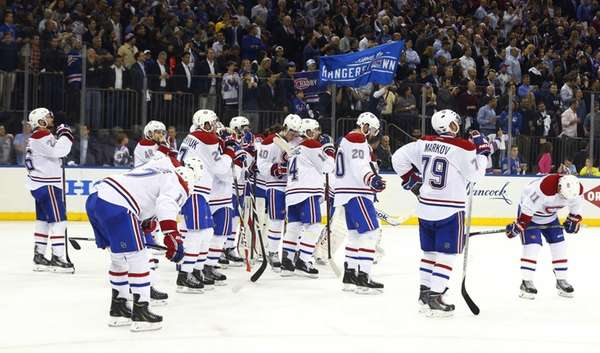 The Montreal Canadiens look on after a loss