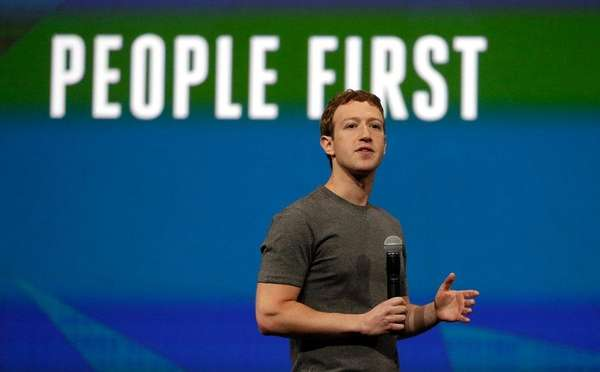 Facebook CEO Mark Zuckerberg delivers the keynote address