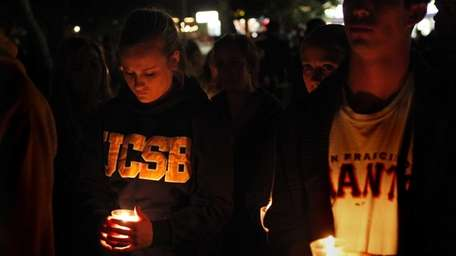 Students gather on the UC Santa Barbara campus