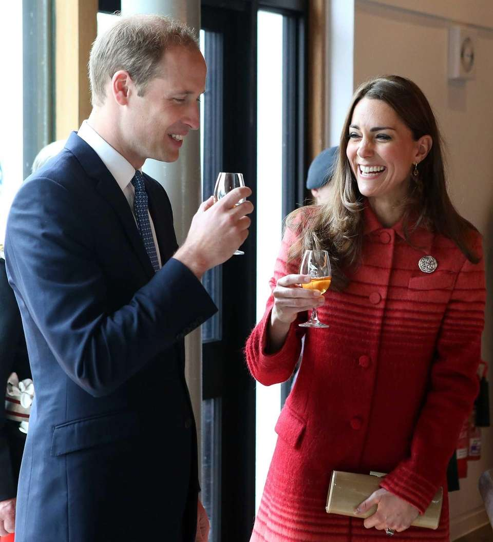 Prince William and Kate sample whisky during a