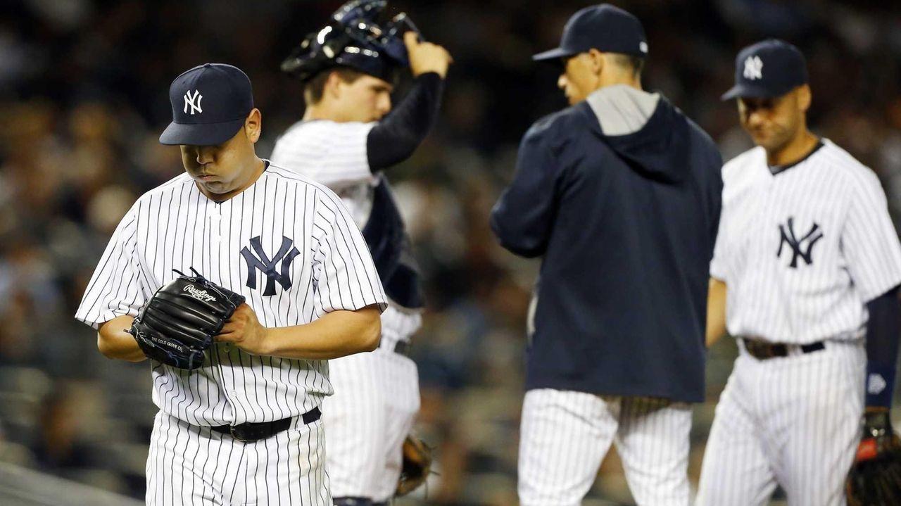 Vidal Nuno of the Yankees leaves a game
