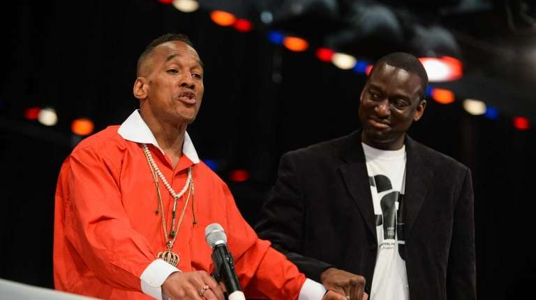 Kharey Wise, of the Bronx, left, and Yusef