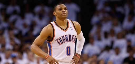 Russell Westbrook of the Oklahoma City Thunder waits