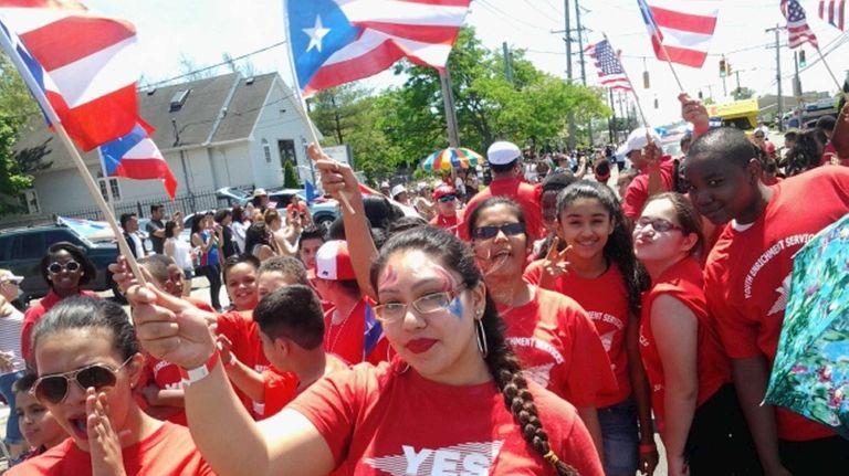 Marchers assemble in Bay Shore on June 1,