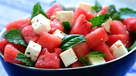 Watermelon, feta, mint and basil salad is perfect