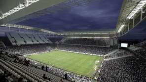Corinthians's and Botafogo players battle it out during