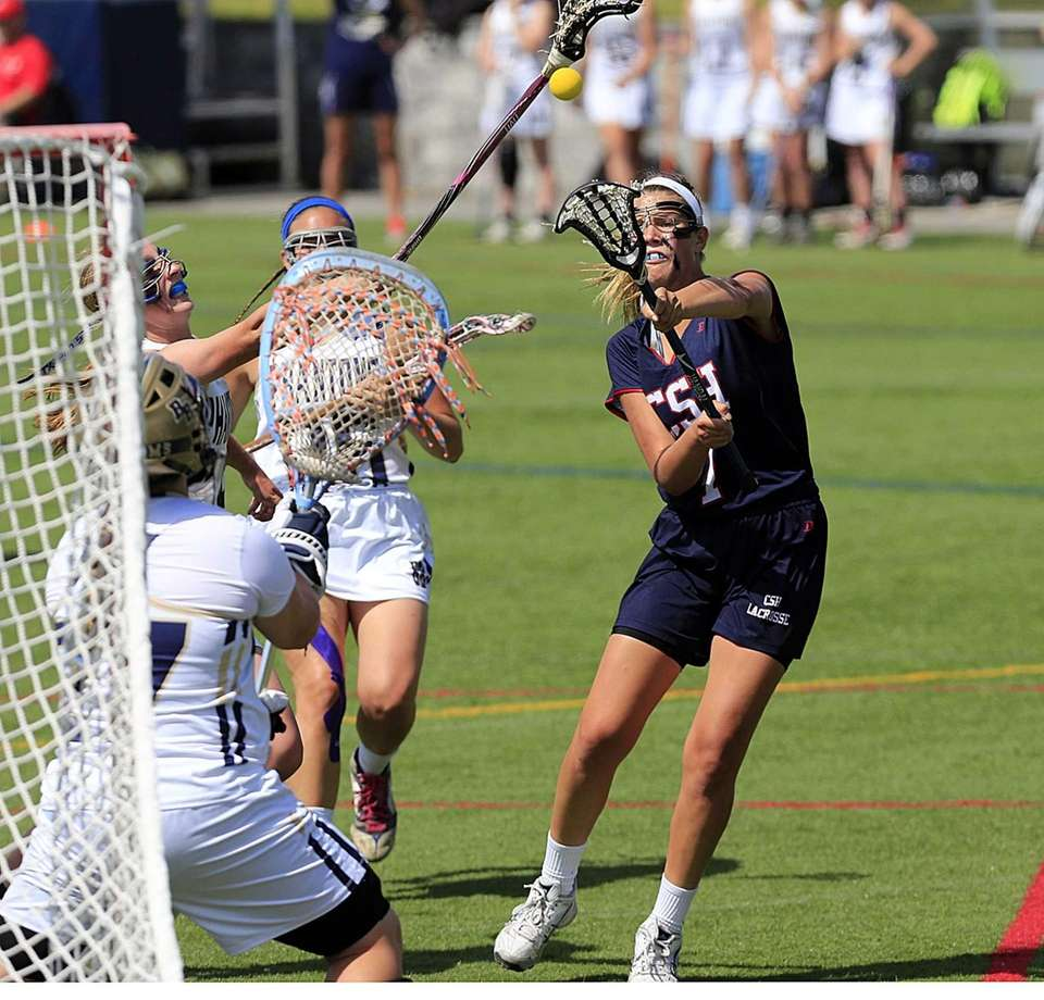 Cold Spring Harbor's Samantha DeBellis (1) shoots and