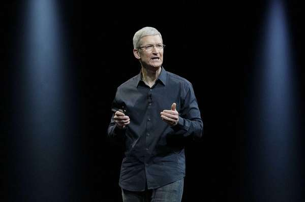 Apple CEO Tim Cook speaks at the Apple