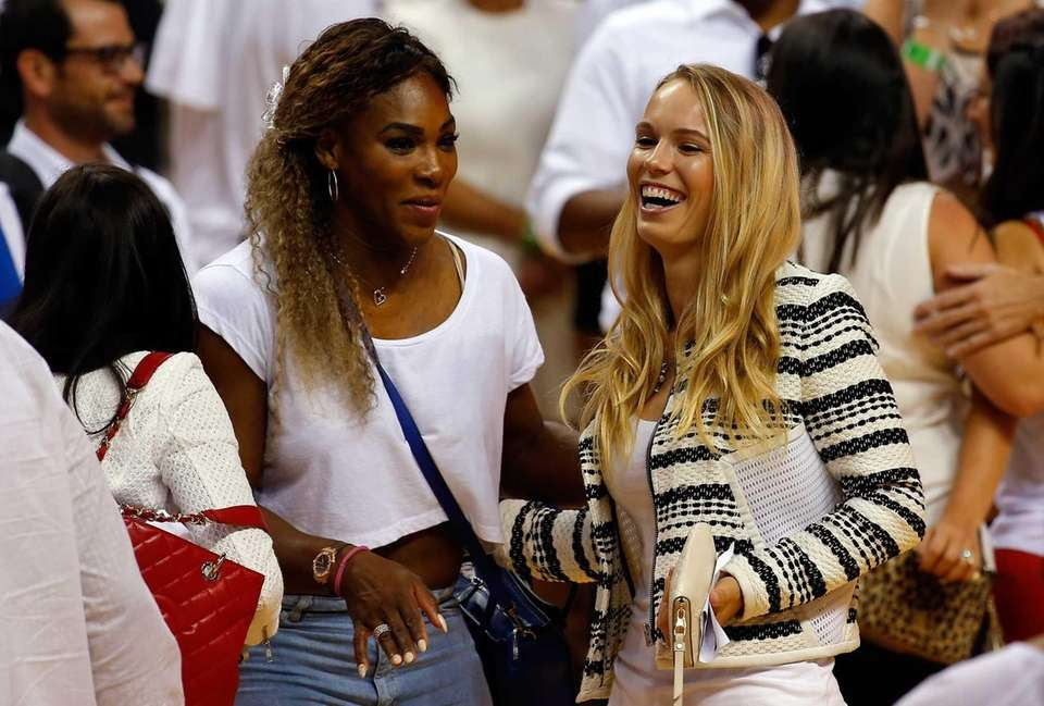 Tennis players Serena Williams and Caroline Wozniacki on