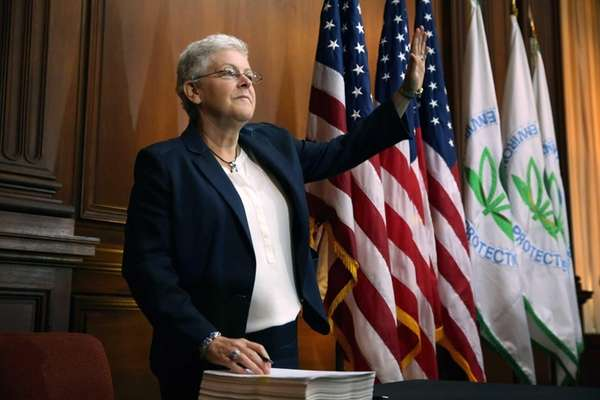U.S. Environmental Protection Agency Administrator Gina McCarthy waves