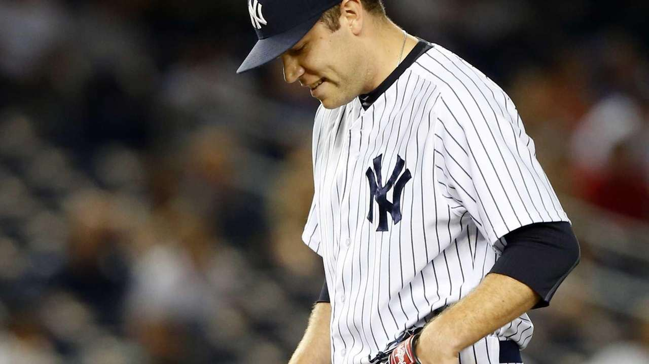 David Phelps of the Yankees stands on the