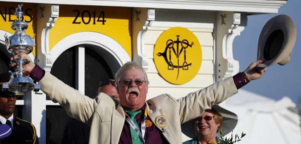 Co-owner Steven Coburn celebrates in the winner's circle