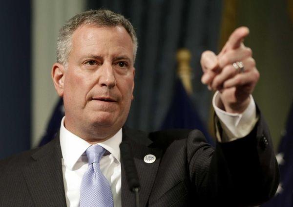 New York City Mayor Bill de Blasio gestures