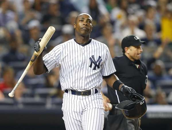 Alfonso Soriano of the Yankees reacts after striking