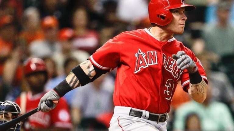 The Los Angeles Angels' Josh Hamilton watches his
