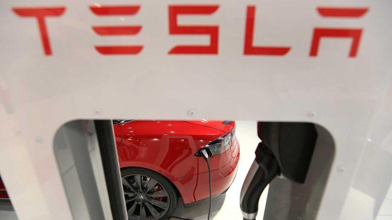 A Tesla Model S automobile, manufactured by Tesla